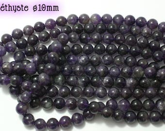 Round Amethyst beads 35 natural ø10mm