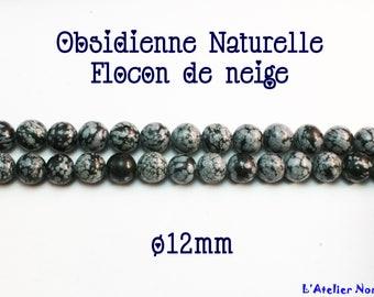 Beautiful 5 variety o12mm snowflake Obsidian beads