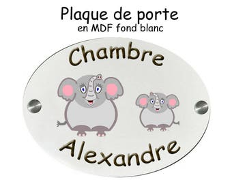 Personalize a door plate Elephant with name (ex. Alexander)