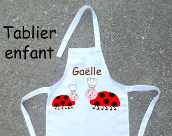 Cooking apron child Ladybug personalized with a name (ex. g)