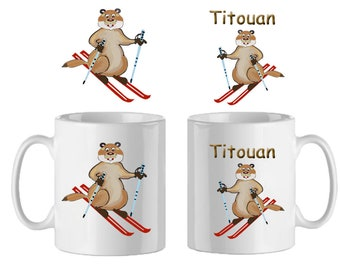 Marmot mug ski-personalized with a name example Titouan
