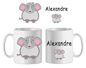 Mug ceramic Elephant with name (ex. Alexander)