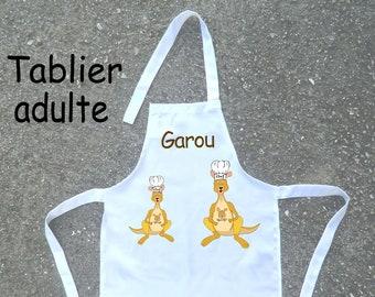 Kitchen apron adult Kangaroo customize example: Grandma, MOM, Garou
