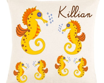 Ecru pillow very soft, sea horse to be personalized with name...