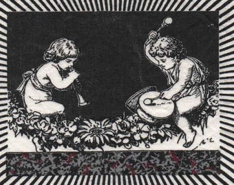 Used for sewing or craft: image cherubs musicians in black and white 15 x 12 cm
