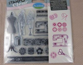 Set  de tampons à monter transparents motifs couture vintage