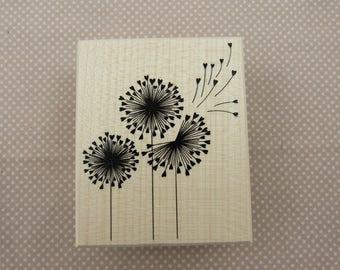 Wooden rubber stamp: dandelion