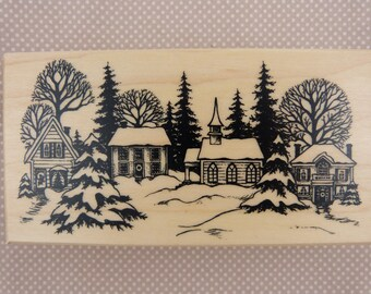 Wooden rubber stamp: snowy landscape
