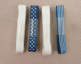 """""""blue and white"""" assortment of satin ribbons"""