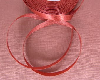 The meter Burgundy satin ribbon, width: 6 mm