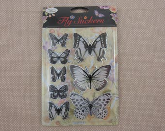 Sheet of black and white 3D Butterfly stickers