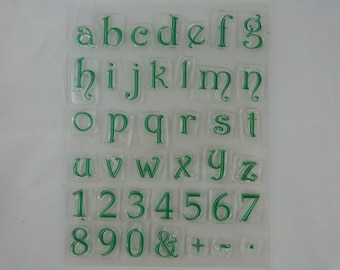Stamp set pattern transparent alphabet and numbers