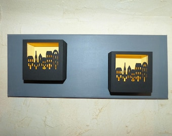 """""""City lights"""" relief painting"""