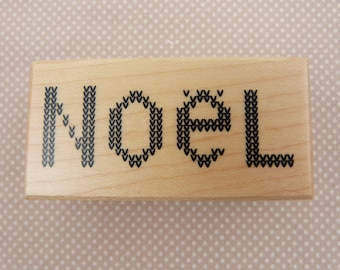 """Wooden rubber stamp: Noel """"tricot"""""""