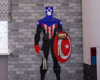 Captain America Wall Decor Bookshelves For Kids Room Superhero Art Toddlers