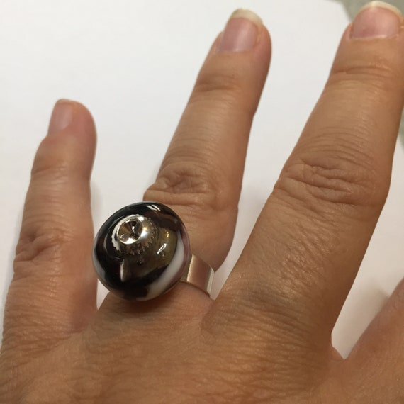 Black Murano glass ring white and transparent