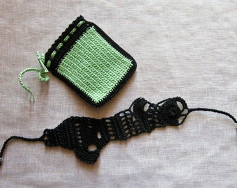 """Beaded """"freeform"""" in black cotton crocheted"""