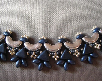 Blue and silver glass beaded necklace