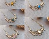 Sasha Art Deco necklace with mother of pearl cabochon or semi precious stone