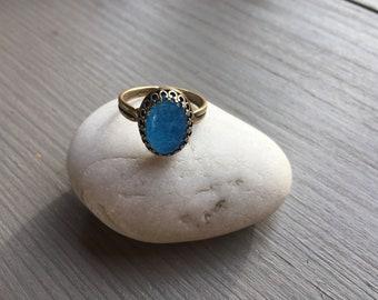 Kleidung & Accessoires Handgefertigt Groß Einzigartig Sterlingsilber Blau Moosachat Ring