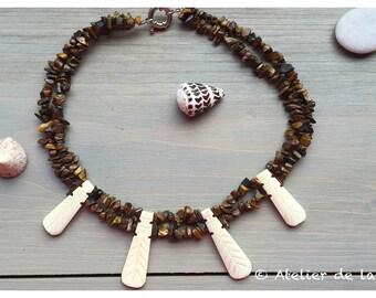 Art Deco tiger eye necklace with bone pendants c5336739bf0