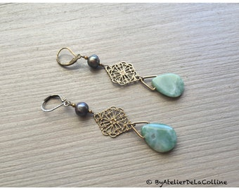 Amala Indian agate and freshwater pearl Art Déco earrings