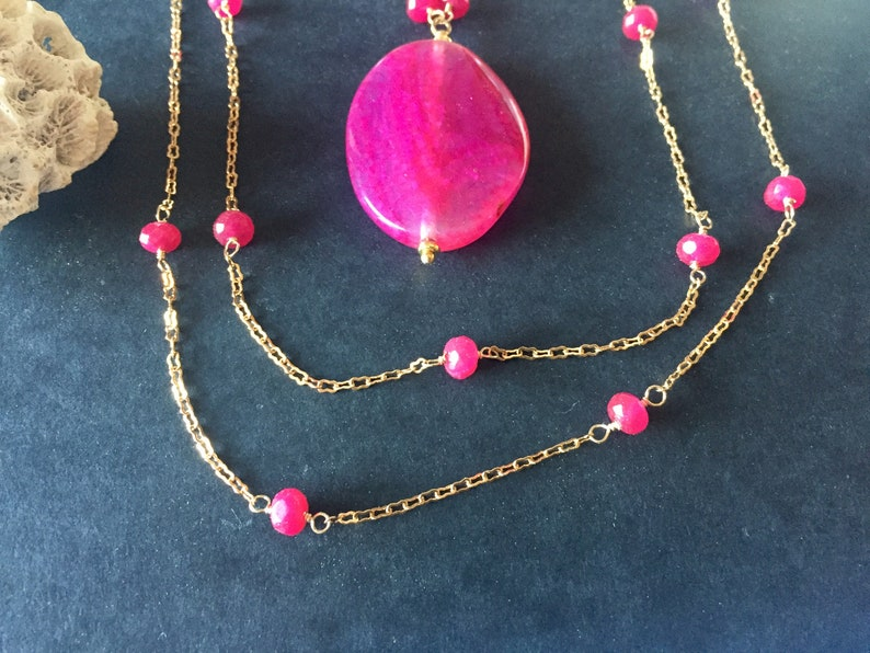 Ruby and gold filled Gatsby style long necklace with fuchsia agate pendant