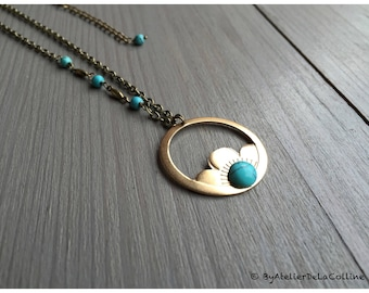 Art deco Dorothea necklace with turquoise