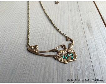 Poppy Art Nouveau necklace