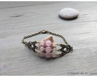 Bracelet rose quartz and gold