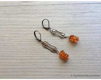 Art deco earrings made with Baltic amber, Agatha collection