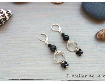 Art deco sterling silver and Swarovski crystal earrings