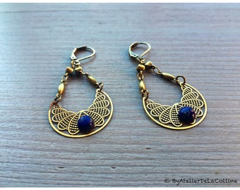 Art déco earrings, with Lapis Lazuli cabochon, Moona collection