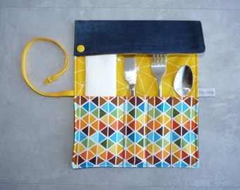 Case cutlery in sunny colors recycled jean Pocket