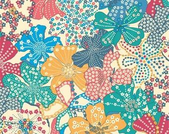 Liberty pattern Liberty Mauvey blue yellow print fabric