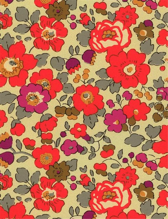 Tissu imprimé Liberty motif Liberty Betsy fluo thé