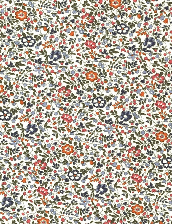Printed fabric Liberty pattern Liberty KATIE and MILLIE blue orange brown  color