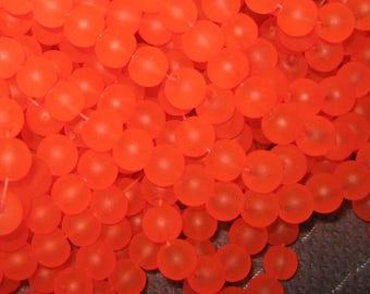 20 glass beads frosted orange 10 mm beads halloveen velvet glass pearls