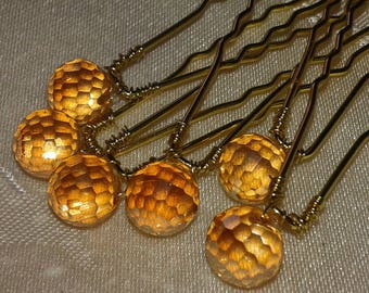 hair pins, pins, wedding, Bridal, hair pins 6 hair pins beads, spikes in Crystal and metal 6.5 cm