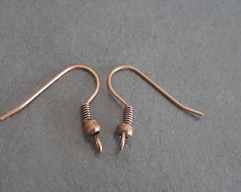 copper ear hooks 50 pair 18 x 21 mm, support hooks earrings