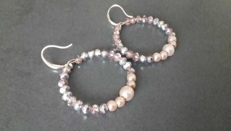 unique handmade earrings women Hoop beaded earrings hoops embedded beads handmade Silver Pink hoop earrings
