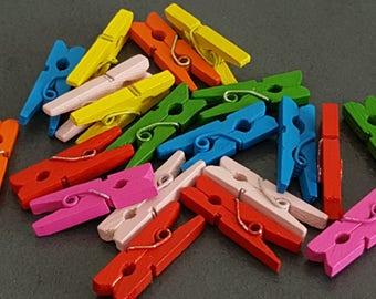 100 mini clothespins wooden 25 x 7 x 3 mm