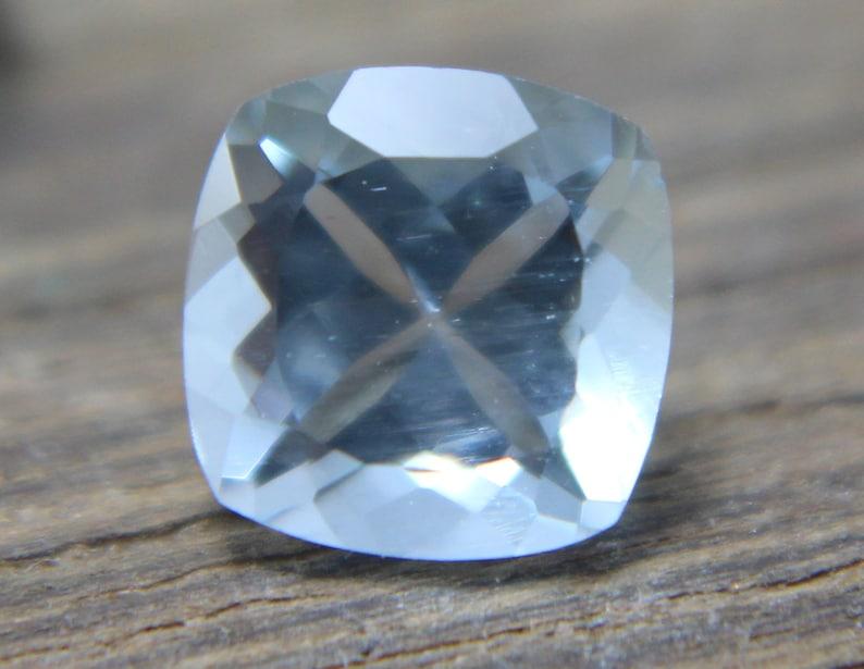 2.60 ct Sky Blue Aquamarine Gemstone Natural Aquamarine Gemstone AAA+ Top Blue Color Cushion shape 3 piece Faceted Loose Gemstone 6x6x4MM