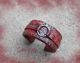 Bracelet leather red polymer clay