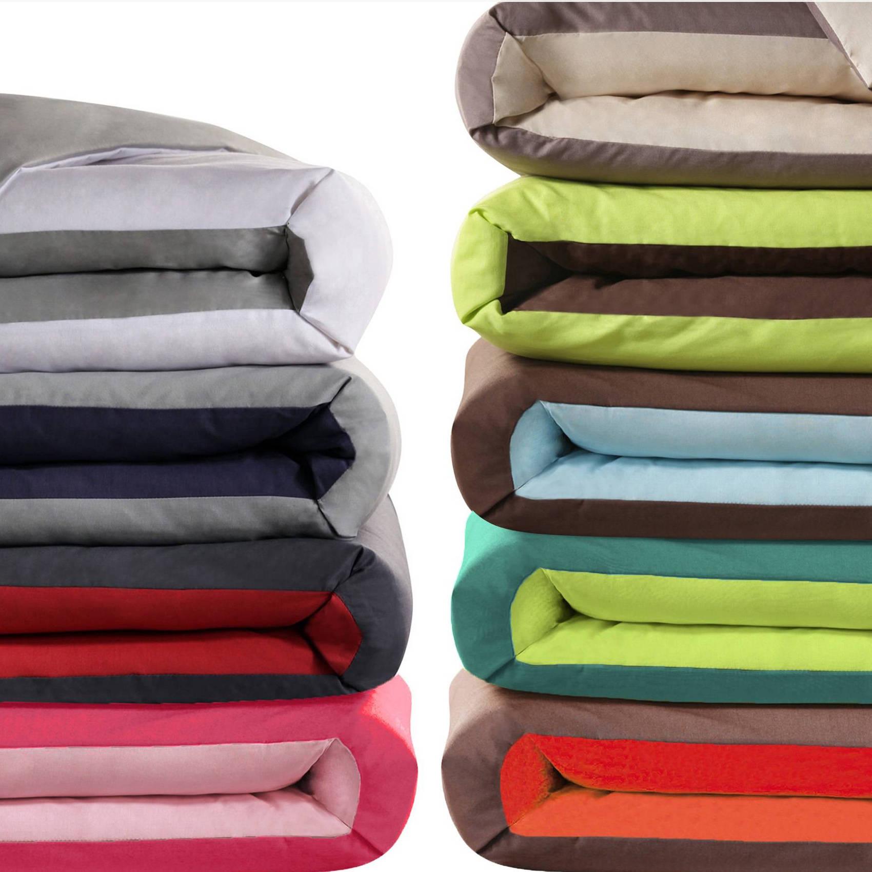housse de couette coton bicolore b b enfant une personne. Black Bedroom Furniture Sets. Home Design Ideas
