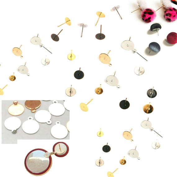 200x Gold 6mm Earring Posts Stud Findings Ear Pin Flat Base Pad Craft Making