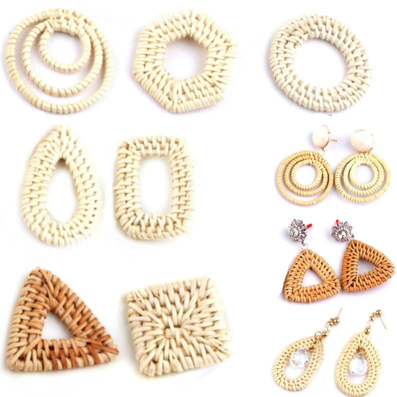 793b61908 Rattan pendant DIY earrings Drop triangle Circle square | Etsy