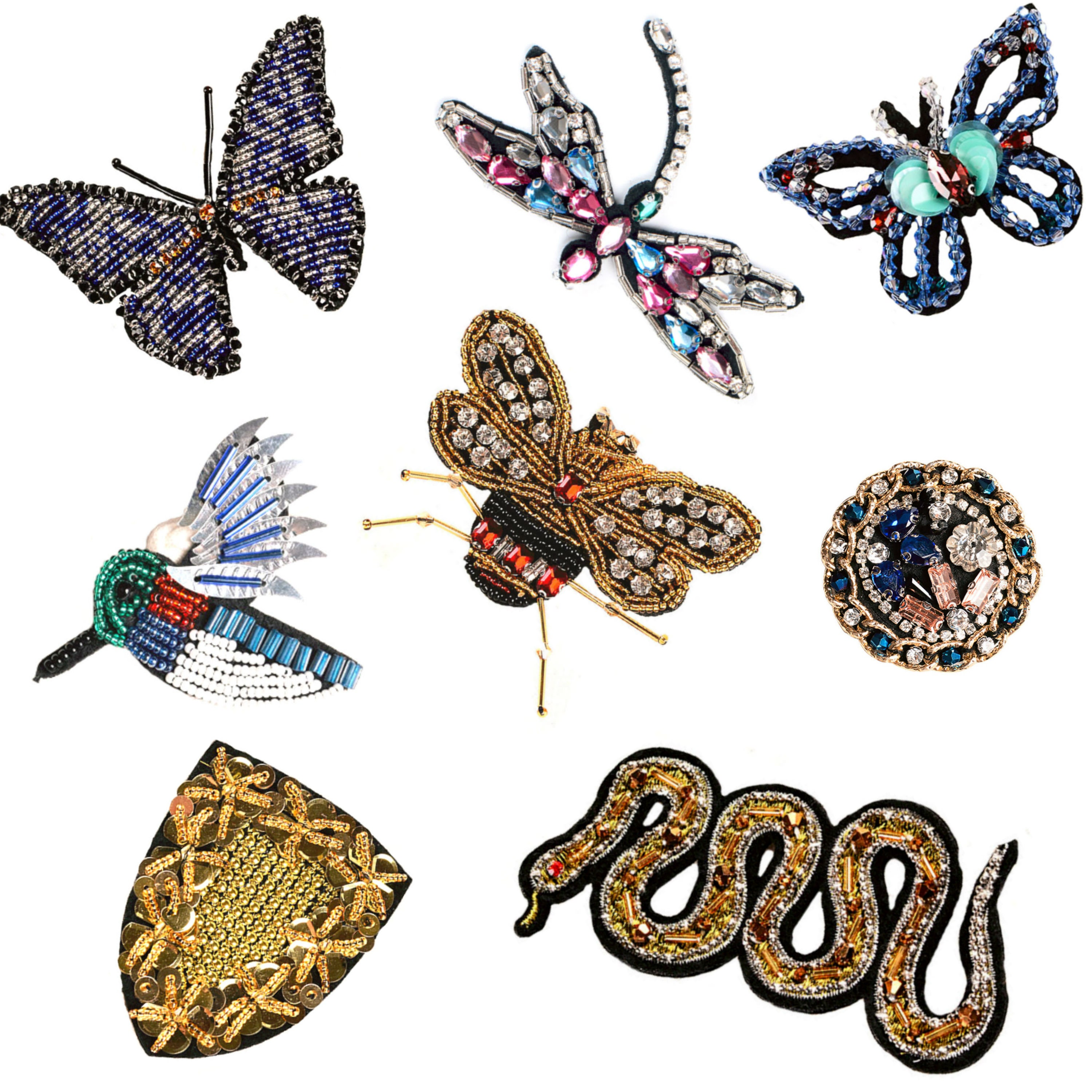 Rhinestone Applique Patch Sewing on Cloth Costume Decor Butterfly//Dragonfly