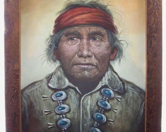 "American Native Indian Portrait Painting Navaho wearing Squash Blossom 28"" x 22"""