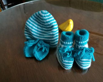 All beanie baby booties and mittens / / newborn knit set